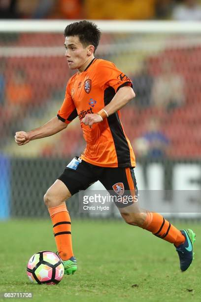 Joe Caletti of the Roar with the ball during the round 25 ALeague match between the Brisbane Roar and the Central Coast Mariners at Suncorp Stadium...