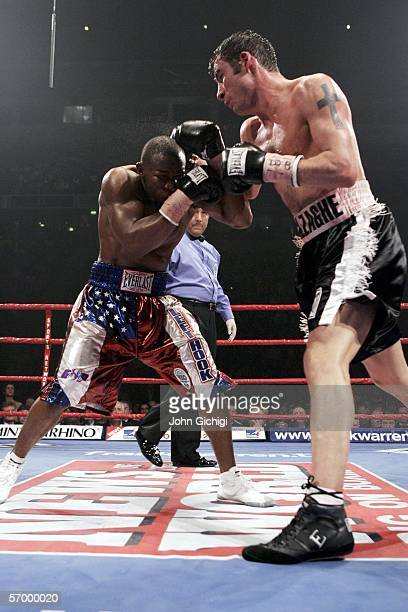 Joe Calzaghe attacks Jeff Lacy during the WBO and IBF super middleweight unification title fight at the MEN Arena on March 5 2006 in Manchester...