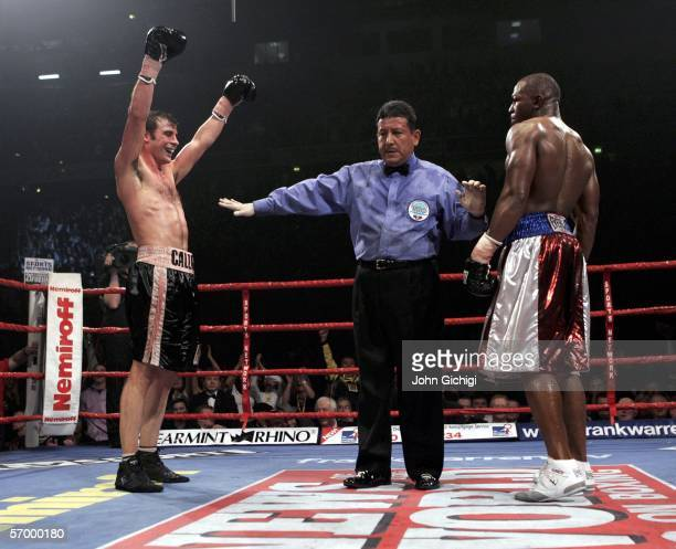 Joe Calzaghe celebrates his win against Jeff Lacy during the WBO and IBF super middleweight unification title fight at the MEN Arena on March 5, 2006...