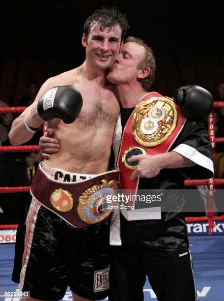 Joe Calzaghe celebrates with his dad Enzo after beating Jeff Lacy during the WBO and IBF super middleweight unification title fight at the MEN Arena...