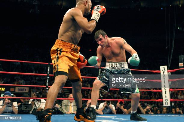 Joe Calzaghe defeats Roy Jones, Jr. In their Light Heavyweight boxing match by UD at Madison Square Garden on November 8, 2008 in New York City. This...