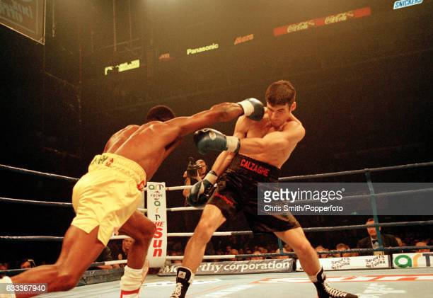 Joe Calzaghe of Great Britain in action against Chris Eubank of Great Britain during their Super Middleweight World Championship bout in Sheffield on...
