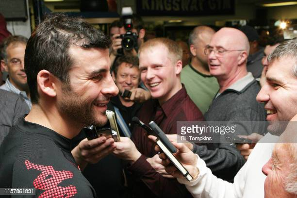 Joe Calzaghe speaks to the media at King's Gym in New York City in preparation for his light heavyweight fight with Roy Jones Jr at Madison Square...
