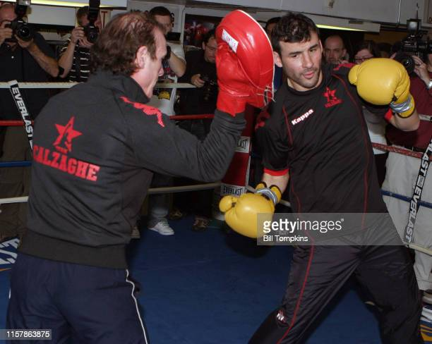 Joe Calzaghe works out at King's Gym in New York City in preparation for his light heavyweight fight with Roy Jones Jr at Madison Square...