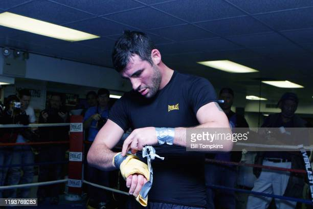Joe Calzaghe works out at King's Gym in New York City in preparation for his light heavyweight fight with Roy Jones Jr at Madison Square Garden...