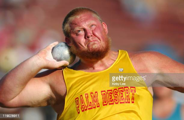 Joe Canavan of Palm Desert had the secondbest mark in the shot put qualifying at 598 3/4 in the CIF State Track Field Championships at Hughes Stadium...