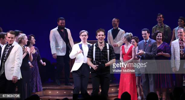 Joe Carroll and cast during the Broadway opening night curtain call bows of 'Bandstand' at the Bernard B Jacobs Theatre on 4/26/2017 in New York City