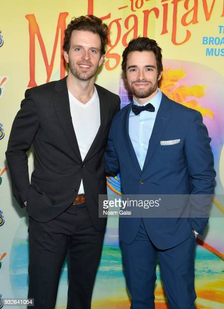 Joe Carroll and Corey Cott attends the Broadway premiere of 'Escape to Margaritaville' the new musical featuring songs by Jimmy Buffett at the...