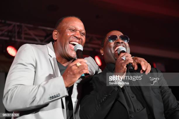 Joe Carter and Singersongwriter Johnny Gill attend Joe Carter Classic After Party at Ritz Carlton on June 21 2018 in Toronto Canada