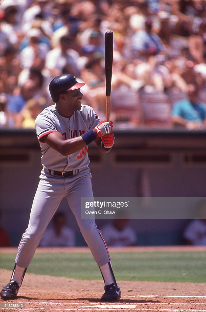 Joe Carter of the Cleveland Indians bats against the California Angels at the Big A in Anaheim, California.