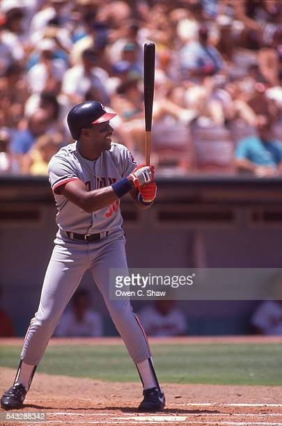 Joe Carter of the Cleveland Indians bats against the California Angels at the Big A in Anaheim California