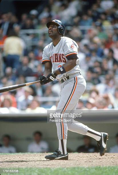 Joe Carter of the Cleveland Indians bats against the New York Yankees during an Major League Baseball game circa 1986 at Yankee Stadium in the Bronx...