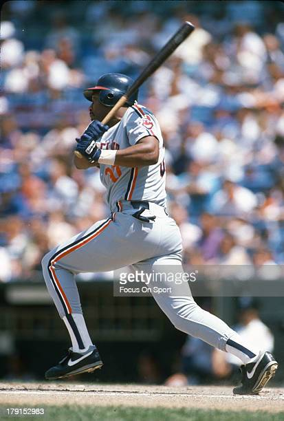 Joe Carter of the Cleveland Indians bats during an Major League Baseball game circa 1988 Carter played for the Indians from 198489