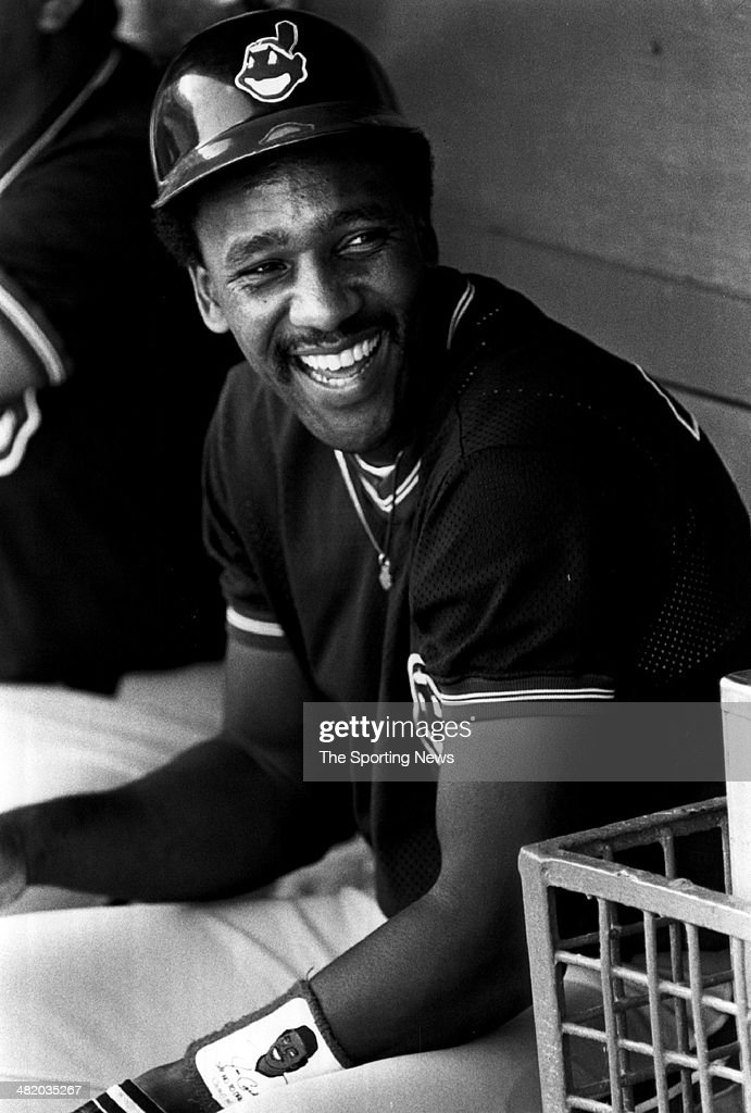 Joe Carter of the Cleveland Indians laughs in the dugout circa 1980s.