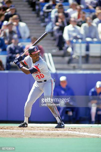 Joe Carter of the Cleveland Indians waits for the pitch during a 1987 game against the Toronto Blue Jays at Exhibition Stadium in Toronto Ontario...