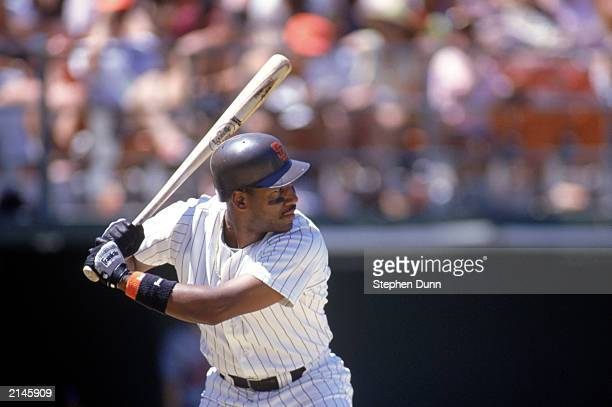 Joe Carter of the San Diego Padres readies for the pitch during the 1990 season
