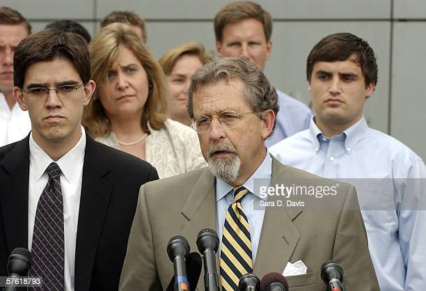 Joe Cheshire attorney for Duke lacrosse player David Evans 23yearsold addresses the media outside the Durham County Detention Center after Evans was...