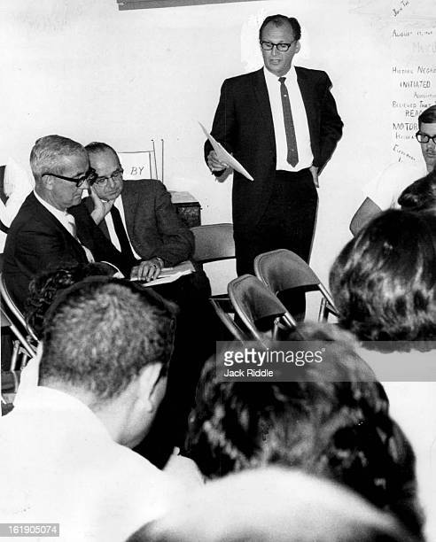 AUG 20 1968 Joe Ciancio Manger Of Parks And Recreation Reads Plans For Pool Stated left are Charles Lind director of recreation and Peter G...