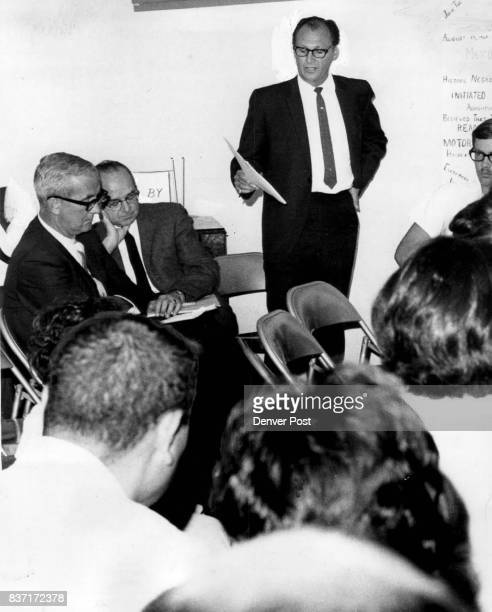 Joe Ciancio Manger Of Parks And Recreation Reads Plans For Pool Stated left are Charles Lind director of recreation and Peter G Stevennson chief of...
