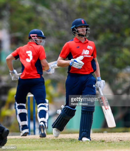Joe Clarke and Sam Hain of North partnership during the ECB North v South Series match Three at 3Ws Oval on March 23 2018 in Bridgetown Barbados