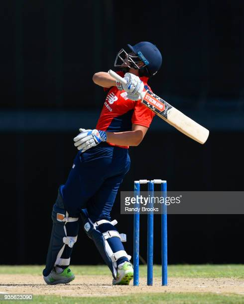 Joe Clarke hits 6 during the ECB North v South Series match Two at Kensington Oval on March 21 2018 in Bridgetown Barbados