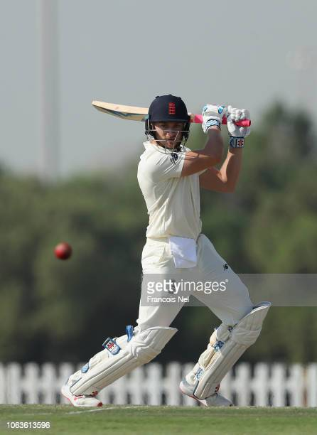 Joe Clarke of England Lions bats during the third day of the tour match between England Lions and Pakistan A at Sheikh Zayed Stadium Nursery 1 on...