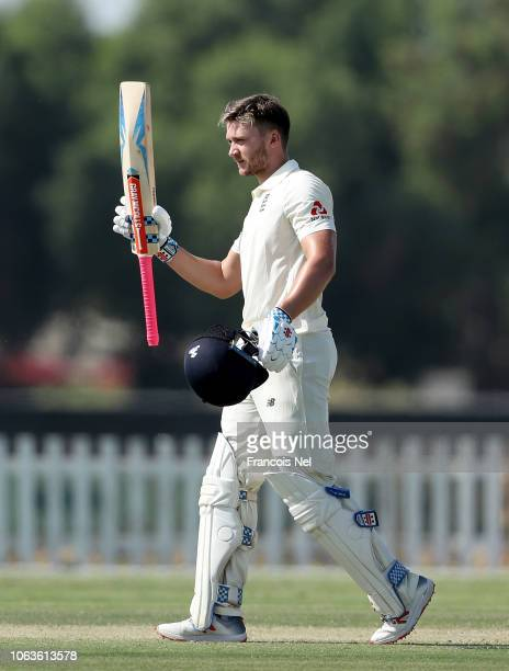 Joe Clarke of England Lions celebrates after reaching his century during the third day of the tour match between England Lions and Pakistan A at...