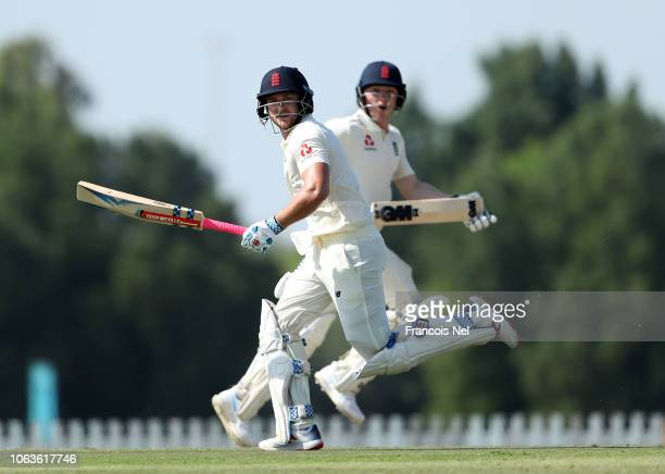 Joe Clarke of England Lions takes a run during the third day of the tour match between England Lions and Pakistan A at Sheikh Zayed Stadium Nursery 1...