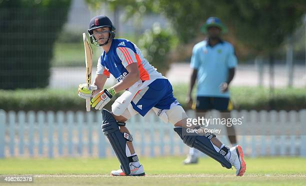 Joe Clarke of England Performance Program bats during a nets session at the ICC Cricket Academy on November 22 2015 in Dubai United Arab Emirates