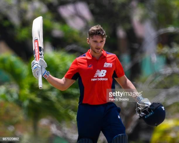 Joe Clarke of North celebrates his century during the ECB North v South Series match Three at 3Ws Oval on March 23 2018 in Bridgetown Barbados