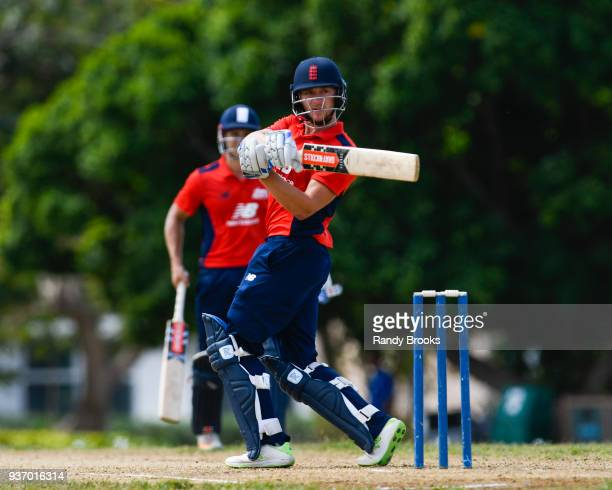Joe Clarke of North hits a 4 during the ECB North v South Series match Three at 3Ws Oval on March 23 2018 in Bridgetown Barbados