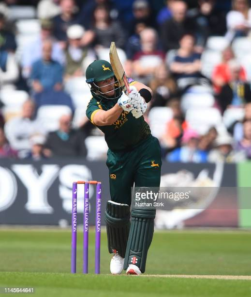 Joe Clarke of Nottingham batting during the Royal London One Day Cup match between Yorkshire and Nottinghamshire at Trent Bridge on April 28 2019 in...
