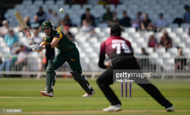 Joe Clarke of Nottinghamshire hits the ball straight to Azhar Ali and is dismissed during the Royal London oneday semifinal between Nottinghamshire...