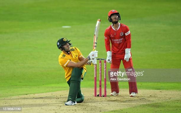 Joe Clarke of Notts Outlaws hits runs during the Vitality T20 Blast Semi Final between Notts Outlaws and Lancashire Lightning at Edgbaston on October...