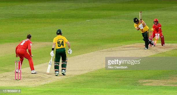 Joe Clarke of Notts Outlaws is bowled by Tom Hartley of Lancashire during the Vitality T20 Blast Semi Final between Notts Outlaws and Lancashire...