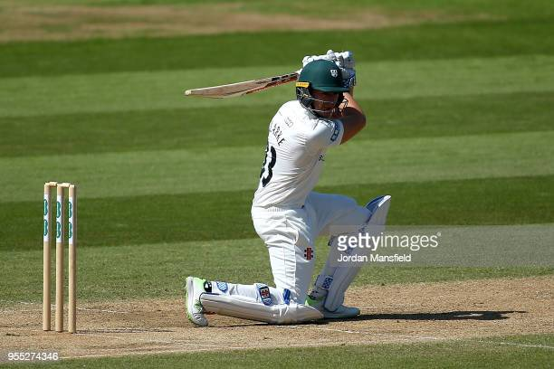 Joe Clarke of Worcestershire bats during day three of the Specsavers County Championship Division One match between Surrey and Worcestershire at The...