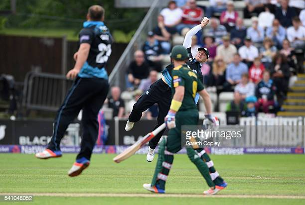 Joe Clarke of Worcestershire catches out Michael Lumb of Nottinghamshire during the NatWest T20 Blast match between Worcestershire and...