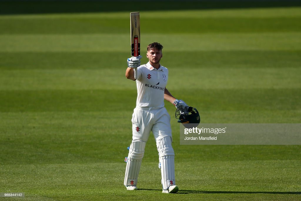 Joe Clarke of Worcestershire celebrates his century during day three of the Specsavers County Championship Division One match between Surrey and Worcestershire at The Kia Oval on May 6, 2018 in London, England.