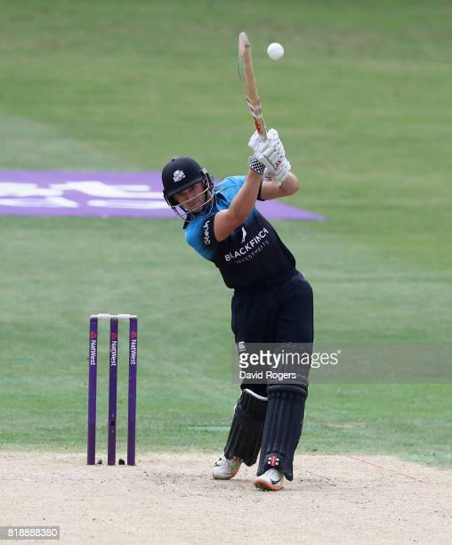 Joe Clarke of Worcestershire hitsthe ball for four runs during the NatWest T20 Blast match between Worcestershrie Rapids and Derbyshire Falcons at...