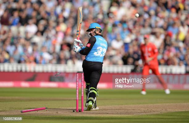 Joe Clarke of Worcestershire is bowled by James Faulkner of Lancashire during the Vitality T20 Blast first semifinal between Worcestershire Rapids vs...