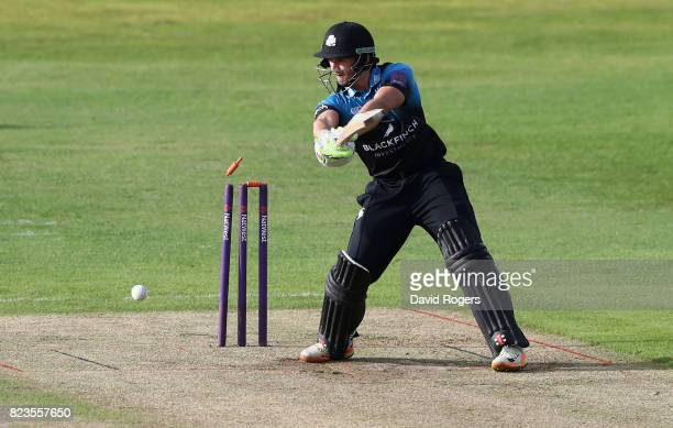 Joe Clarke of Worcestershire is bowled by Richard Gleeson during the NatWest T20 Blast match between Northamptonshire Steelbacks and Worcestershire...
