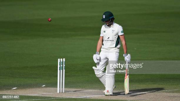 Joe Clarke of Worcestershire is distraught after playing on to a ball from Chris Jordan of Sussex during the third day of the Specsavers County...