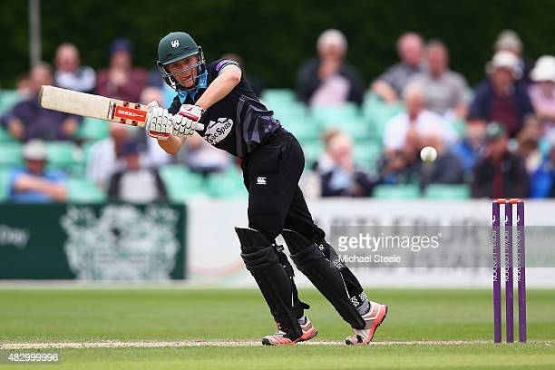 Joe Clarke of Worcestershire plays to the onside during the Royal London One Day Cup Group A match between Worcestershire and Gloucestershire at New...