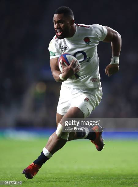 Joe Cokanasiga of England breaks through to score their third try during the Quilter International match between England and Australia at Twickenham...
