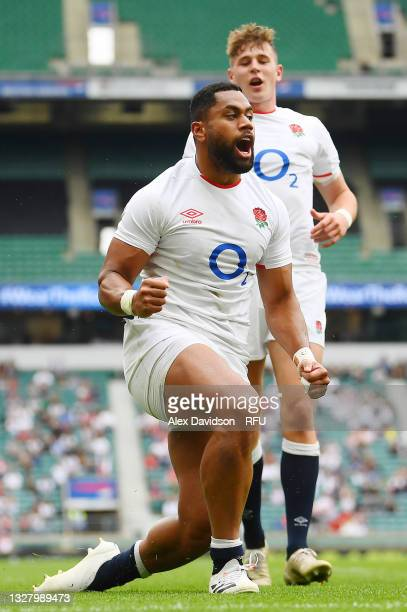 Joe Cokanasiga of England celebrates after scoring their side's fourth try during the Summer International Friendly match between England and Canada...