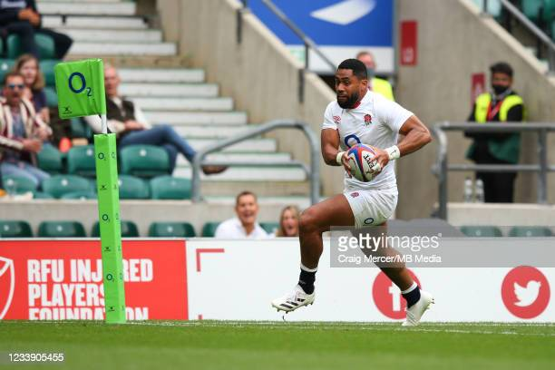 Joe Cokanasiga of England goes over to score his sides fourth try during the Summer International Friendly match between England and Canada at...