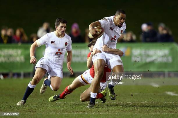 Joe Cokanasiga of England is tackled by Ioan Nicholas of Wales during the U20 Six Nations match between Wales U20 and England U20 at Eirias Stadium...