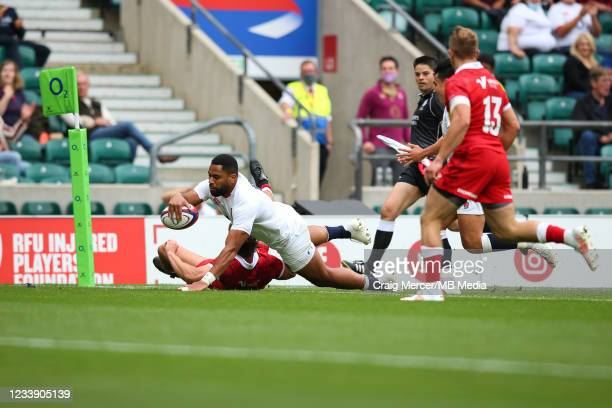 Joe Cokanasiga of England scores his sides fifth try during the Summer International Friendly match between England and Canada at Twickenham Stadium...