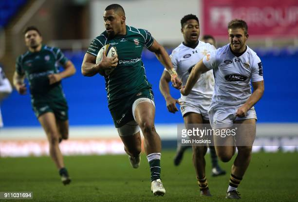 Joe Cokanasiga of London Irish breaks clear to score a try during the AngloWelsh Cup match between London Irish and Wasps at Madejski Stadium on...