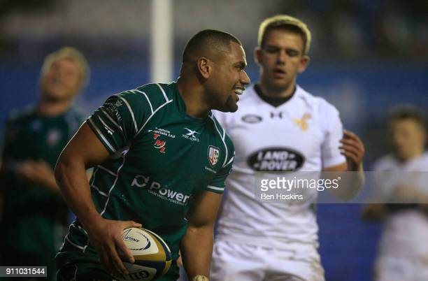 Joe Cokanasiga of London Irish celebrates scoring a try during the AngloWelsh Cup match between London Irish and Wasps at Madejski Stadium on January...
